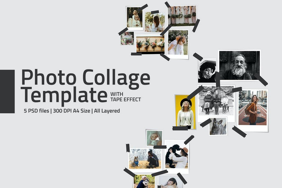 Photo Collage Template with Tape Effect