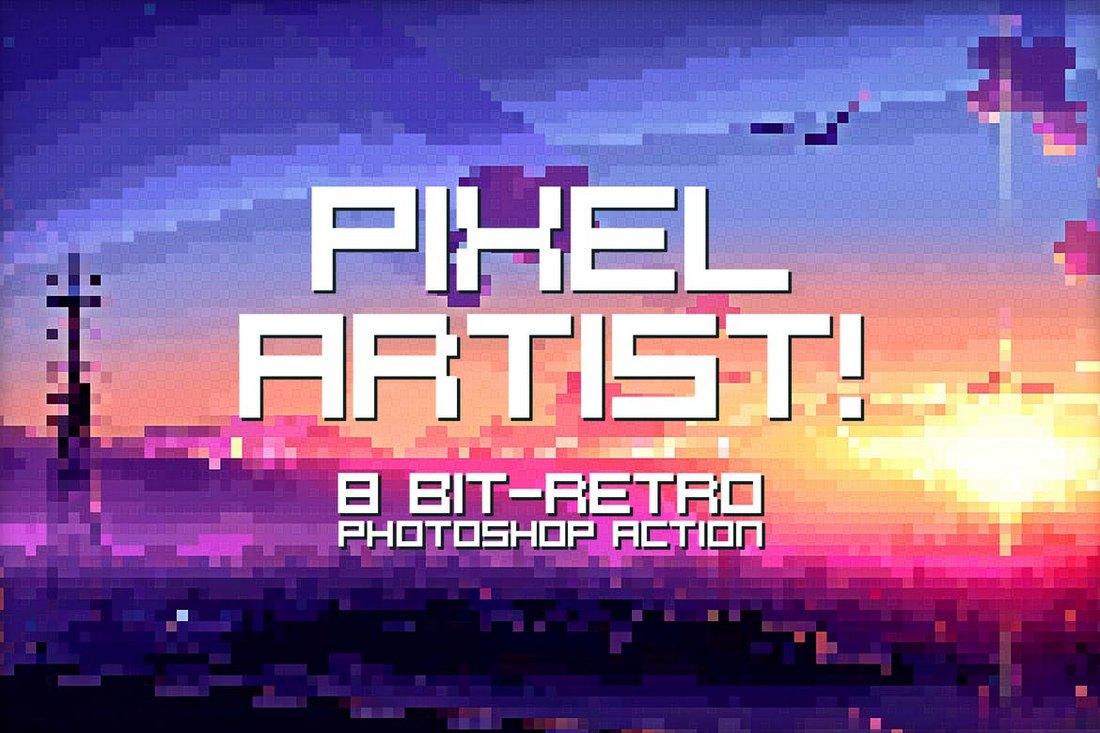 Pixel Artist - 8-Bit Retro Photoshop Action