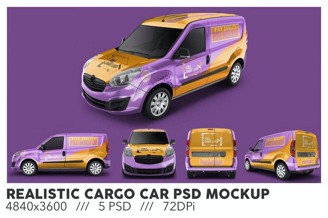 Realistic Cargo Car Mockup