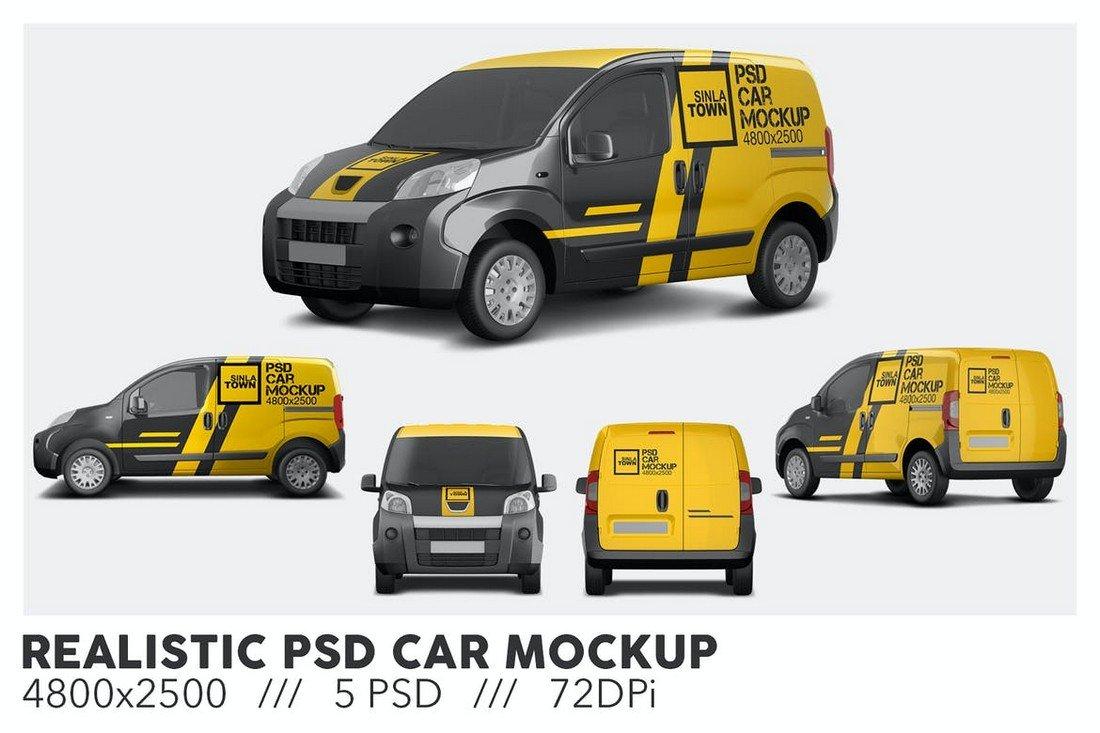 Realistic PSD Car Decal Mockup