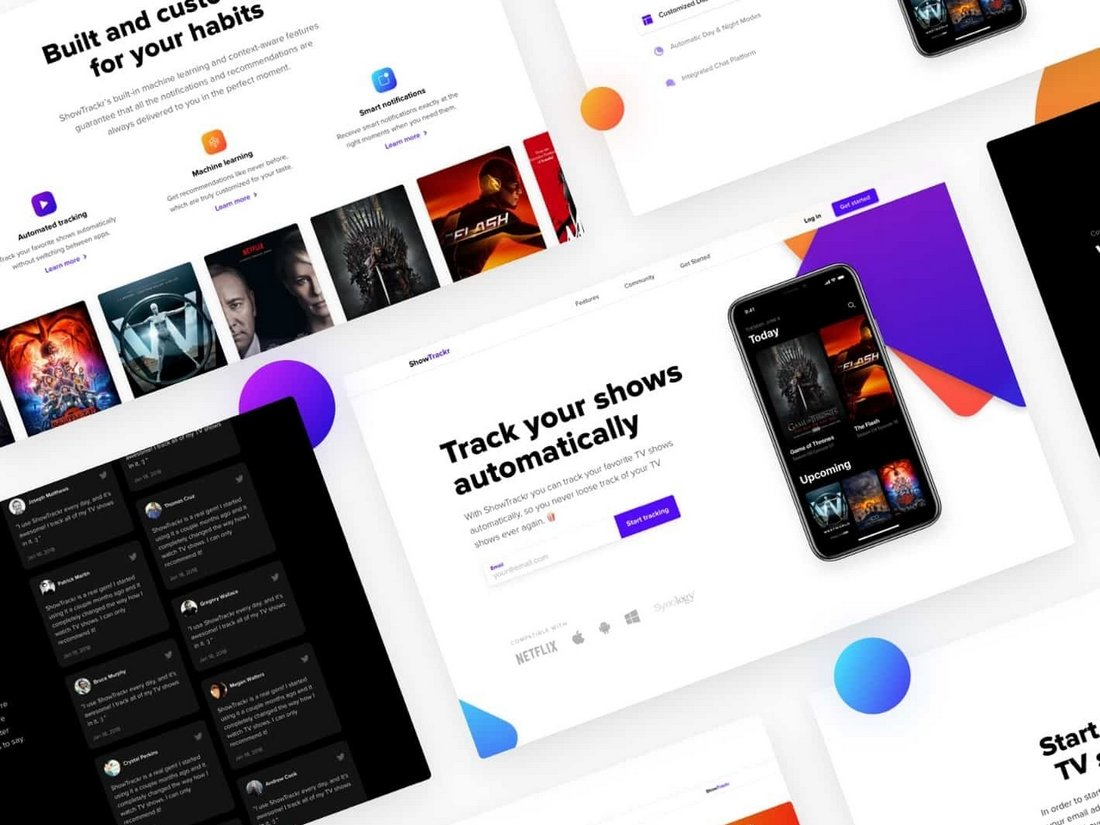 ShowTrackr - Free Landing Page Sketch Template