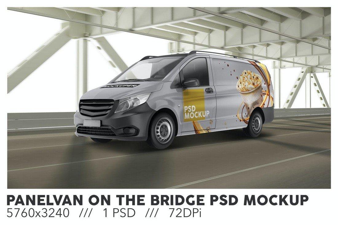 Van On The Bridge PSD Mockup