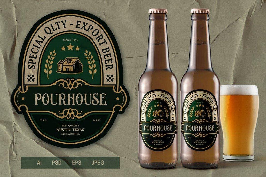 Vintage Beer Bottle Label Template