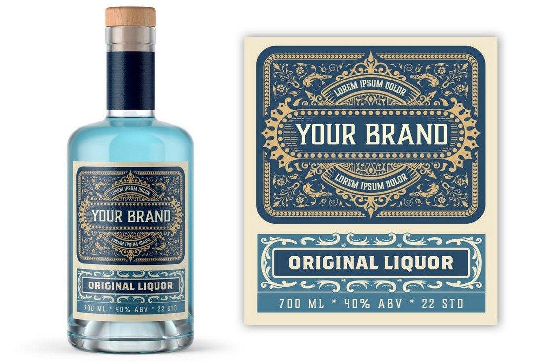 Vintage Liquor Bottle Label Template