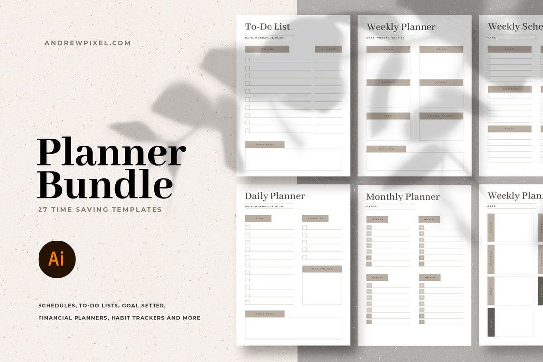 Weekly & Monthly Planner Templates Bundle