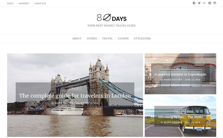 EightyDays - Travel Blog WordPress Theme.