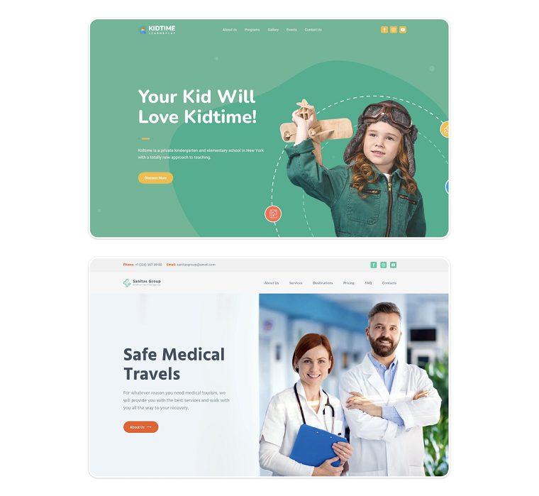 Examples of websites made on Weblium.