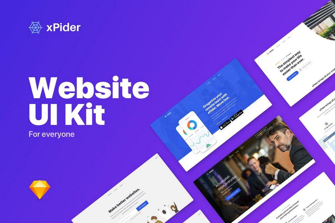 xPider - Website UI Kit Sketch Template