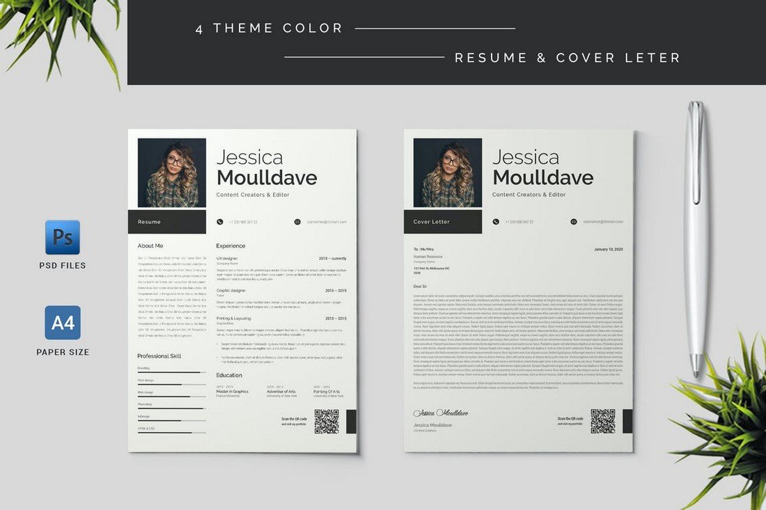4 Resume & Cover Letter Templates