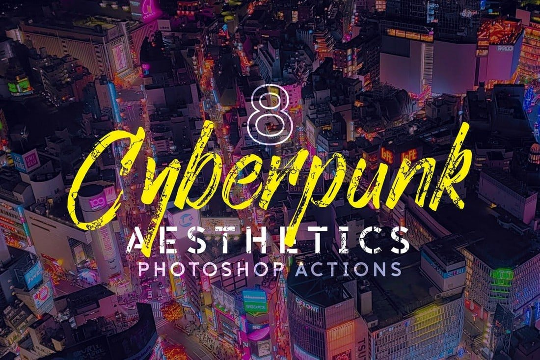8 Cyberpunk Aesthetics Photoshop Actions