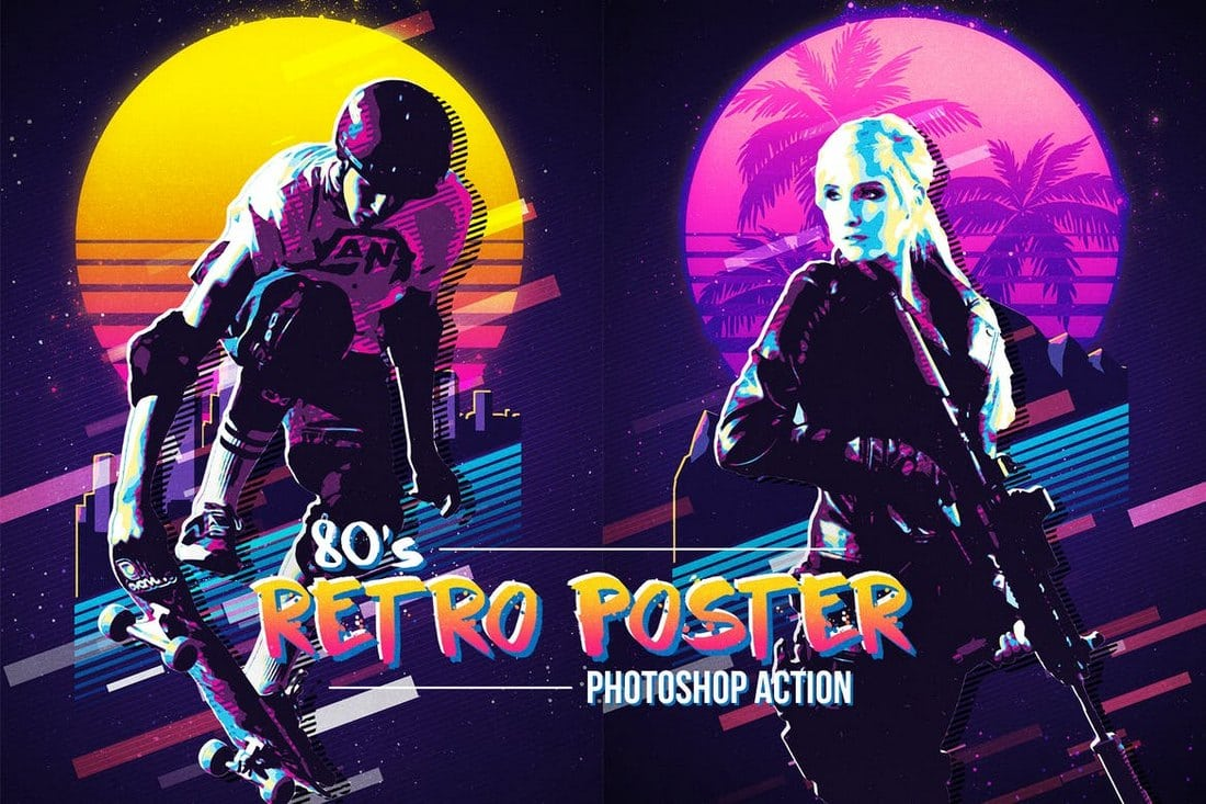 80's Retro Poster Photoshop Action