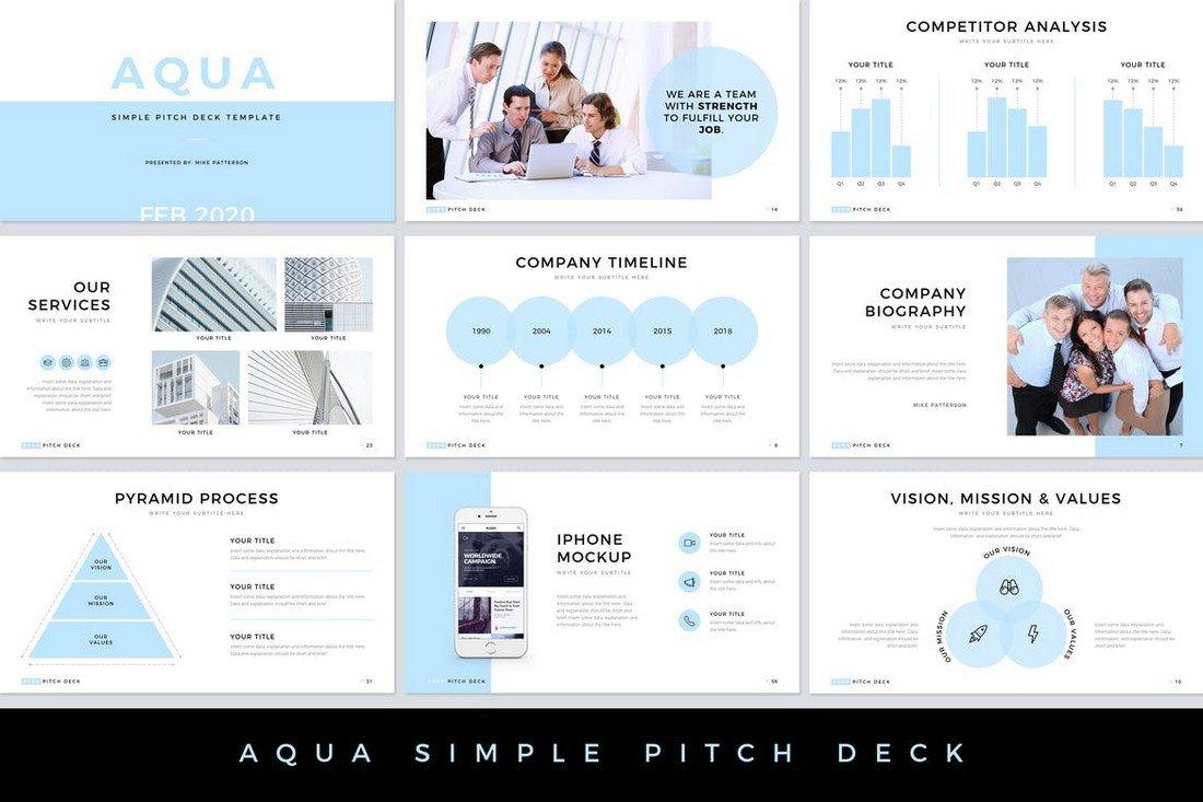 Aqua - Clean Pitch Deck PowerPoint Template