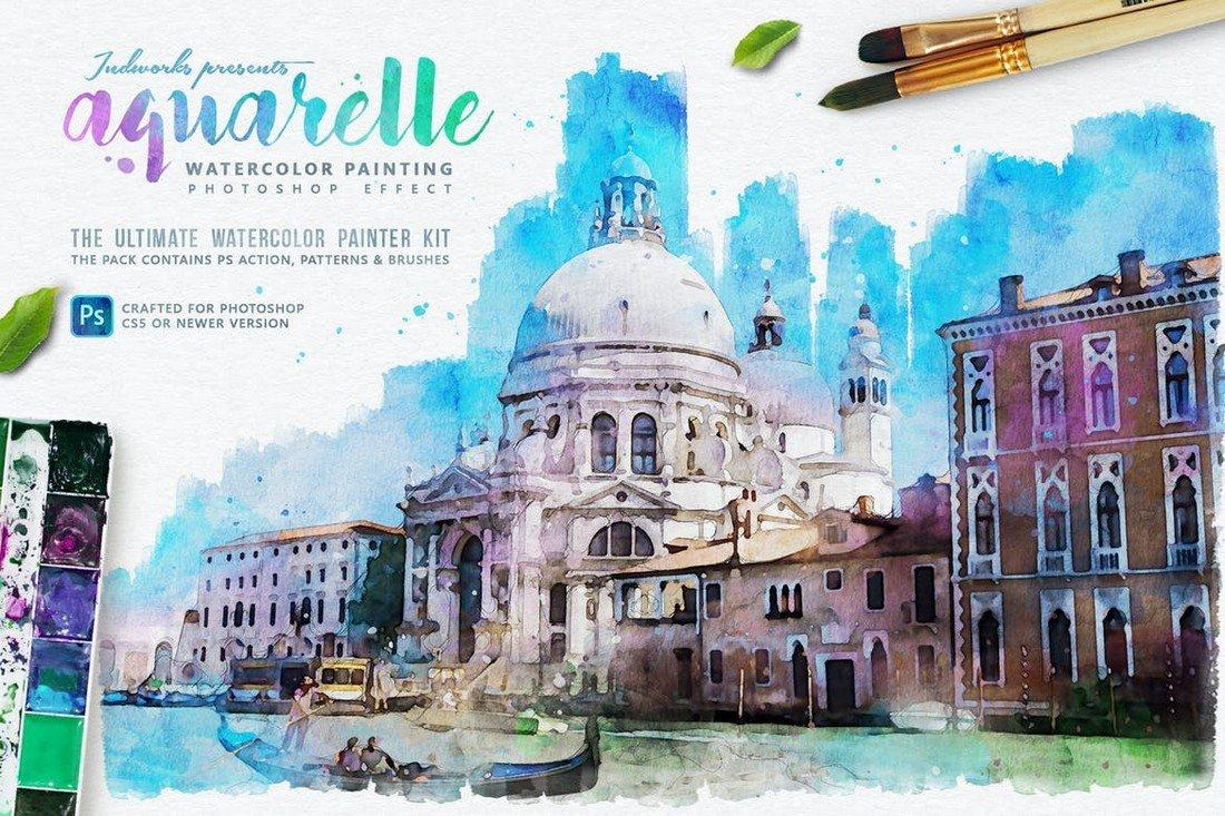 Aquarelle Watercolor Painting Photoshop Action