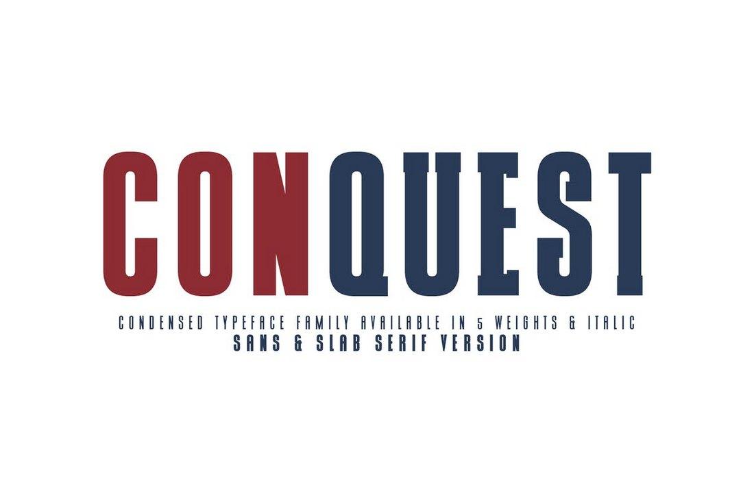 CONQUEST - Sans & Slab Serif Font