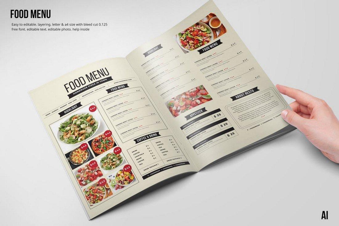 Clean & Fresh Food and Drink Menu Template