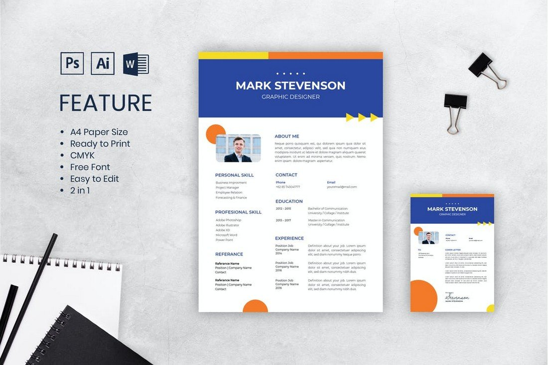 Corporate CV Resume Template A4