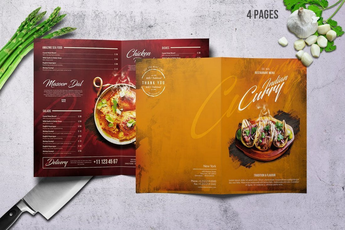 Curry Indian Food and Drink Menu Template