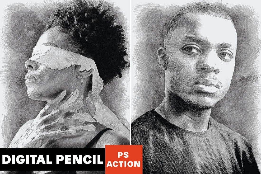 Digital Pencil Sketch Photoshop Action
