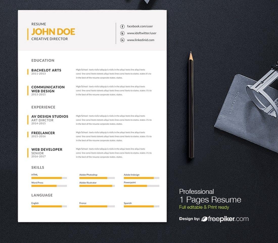 Free Minimal Resume Design Template