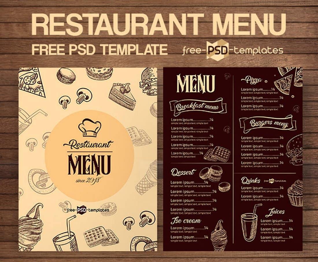 Free Retro Restaurant Menu Template