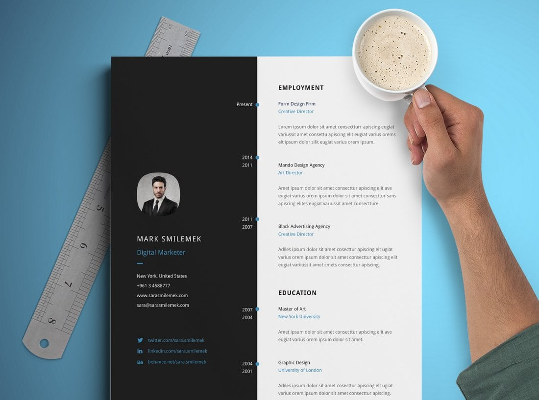 Free Vertical Resume Template