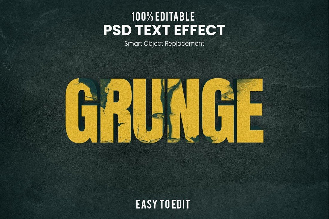 Grunge Photoshop Text Effect PSD