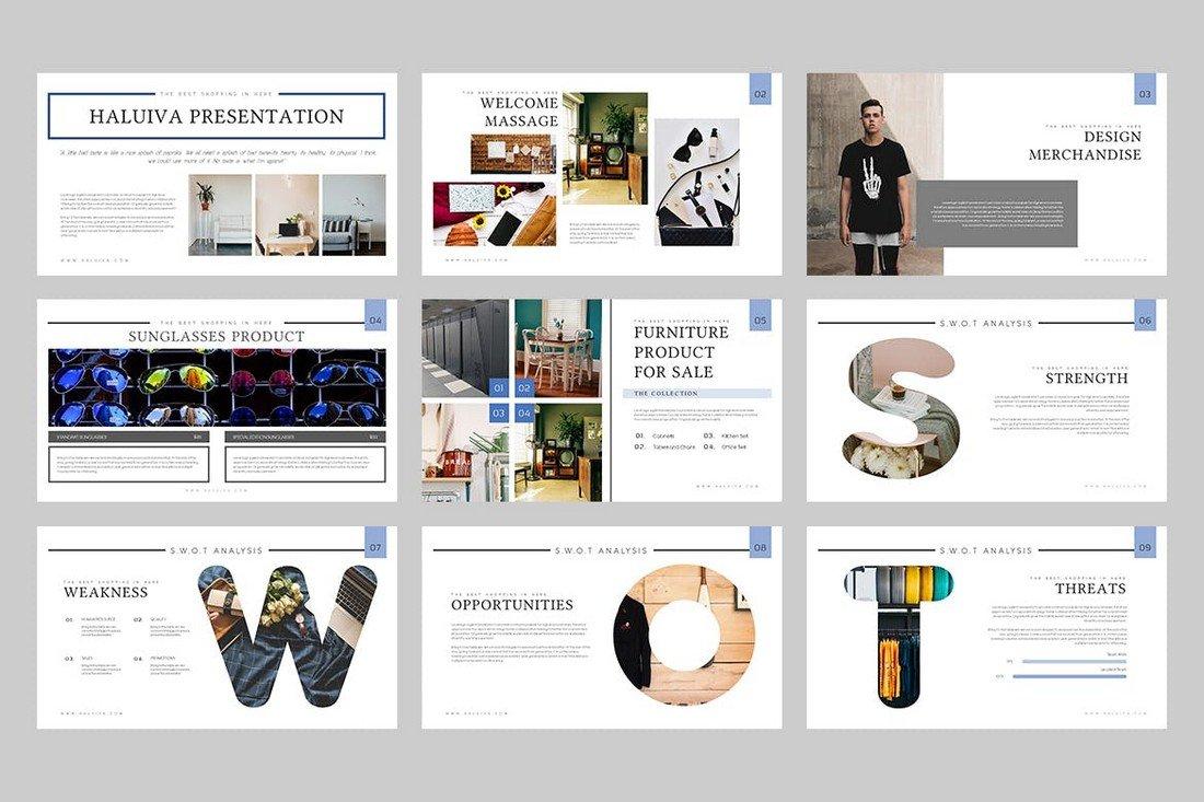 Haluiva - Minimal Pitch Deck Powerpoint Template