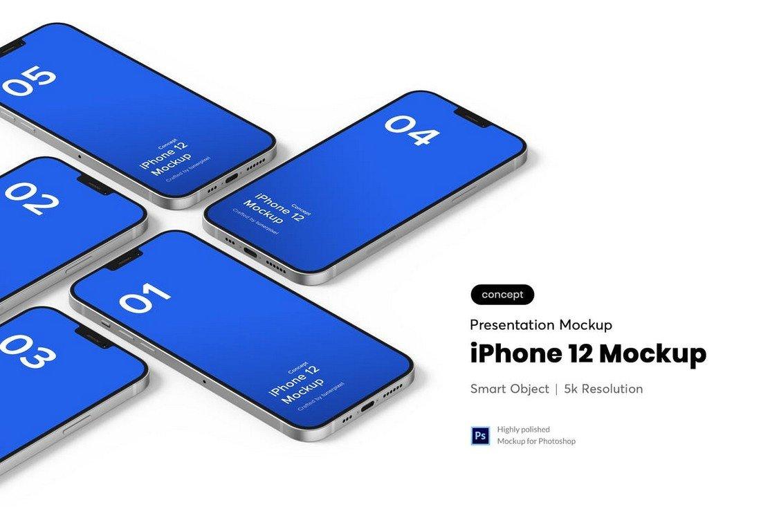 Isometric iPhone 12 Mockup Template