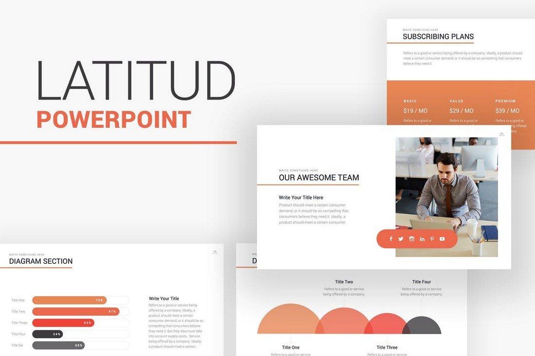 Latitud - Business Pitch Deck PowerPoint Template