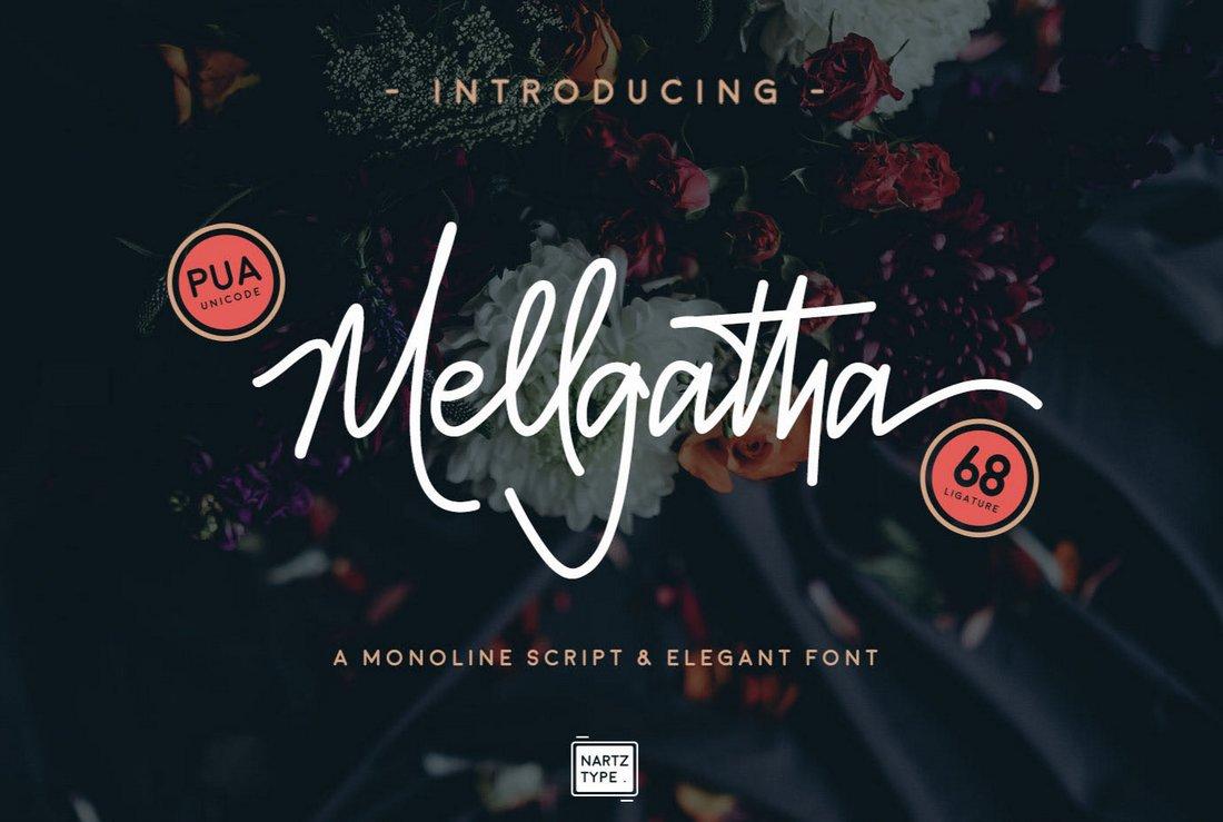Mellgatha - Free Monoline Script Font