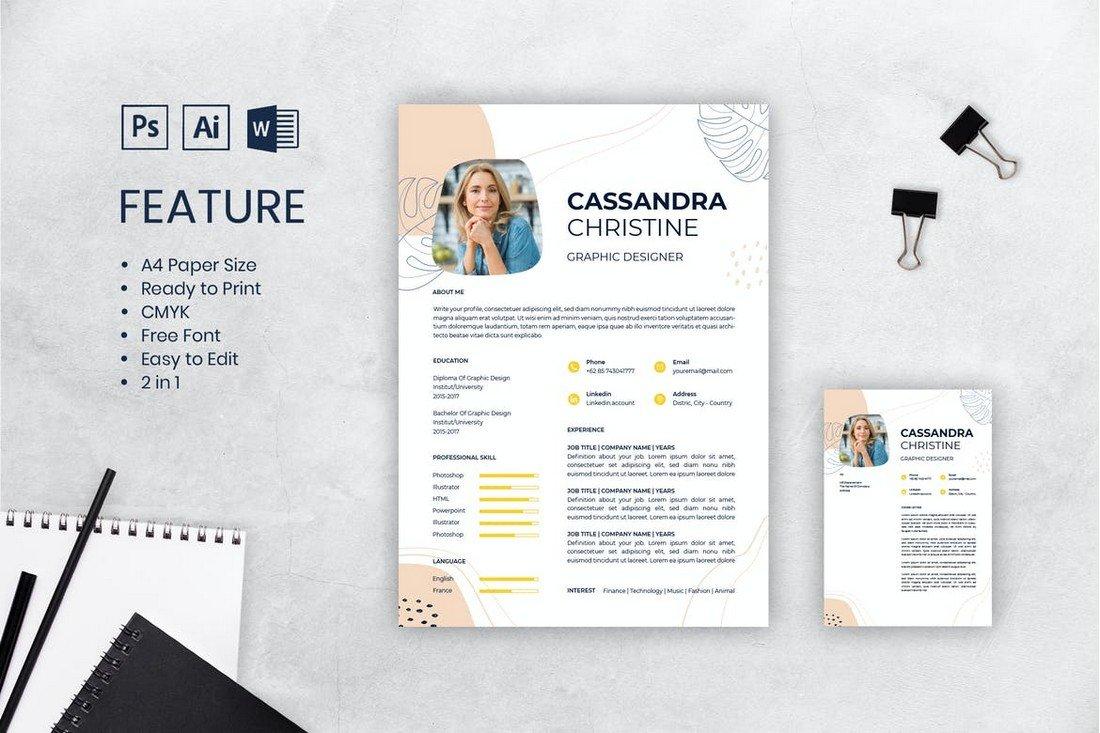 Modern CV Resume Template for Creatives