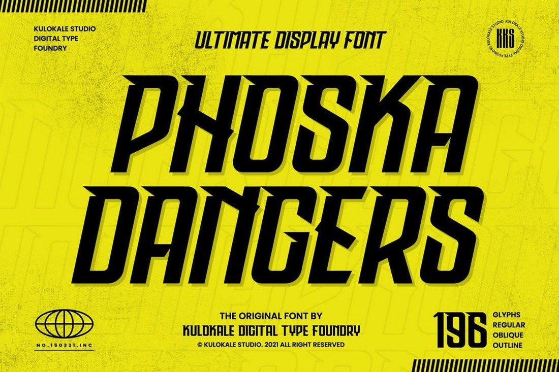 Phoska Dangers - Game Techno Display Font
