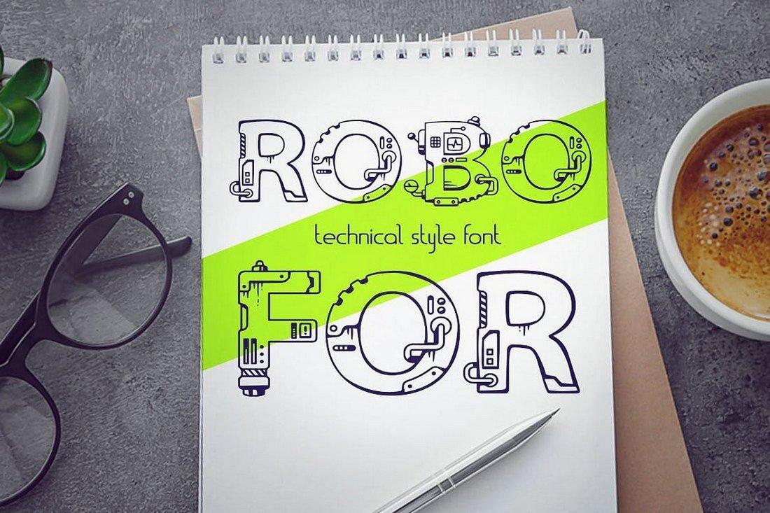Robofor - Mechanical Engineering Font