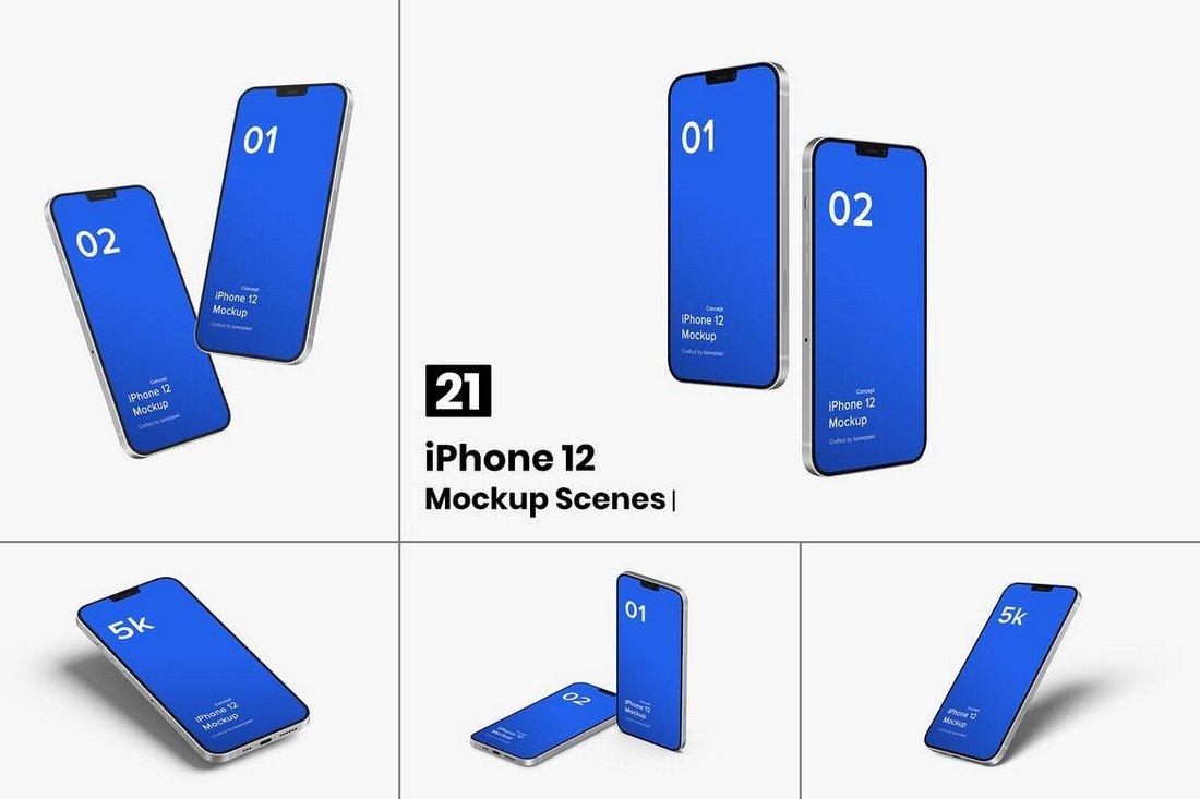 iPhone 12 Mockup Template - 21 Scenes