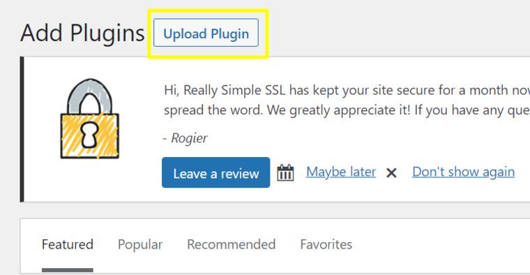 Click on Upload plugin.